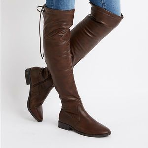 Thigh High Lace Up Boots (Black)